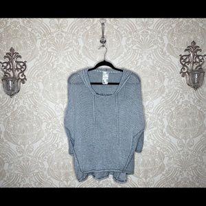 BOGO Blu Pepper striped hooded pullover sweater